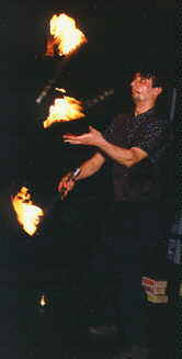 Shreeyash Palshikar performs fire juggling